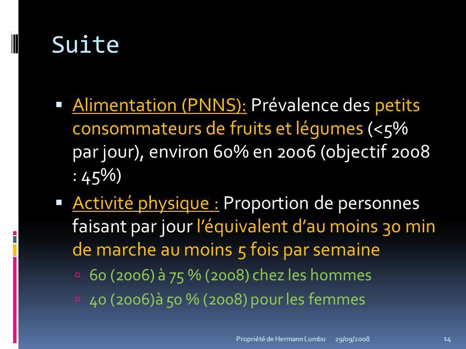 Suite Alimentation (PNNS): Alimentation (PNNS): Prévalence des petits consommateurs de fruits et légumes (<5% par jour), environ 60% en 2006 (objectif