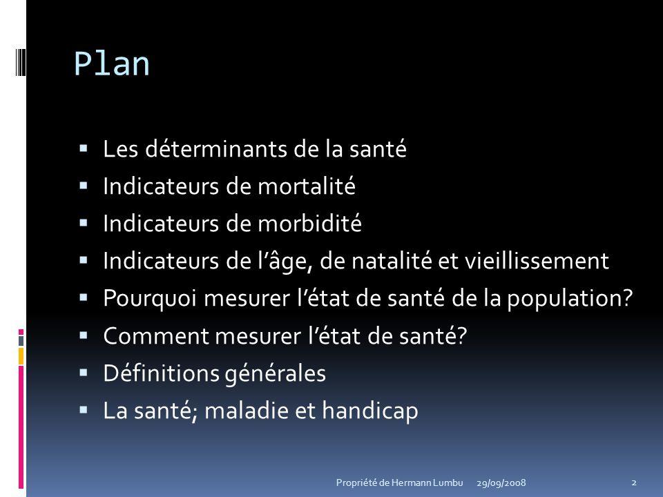 Plan Les déterminants de la santé Indicateurs de mortalité Indicateurs de morbidité Indicateurs de lâge, de natalité et vieillissement Pourquoi mesure