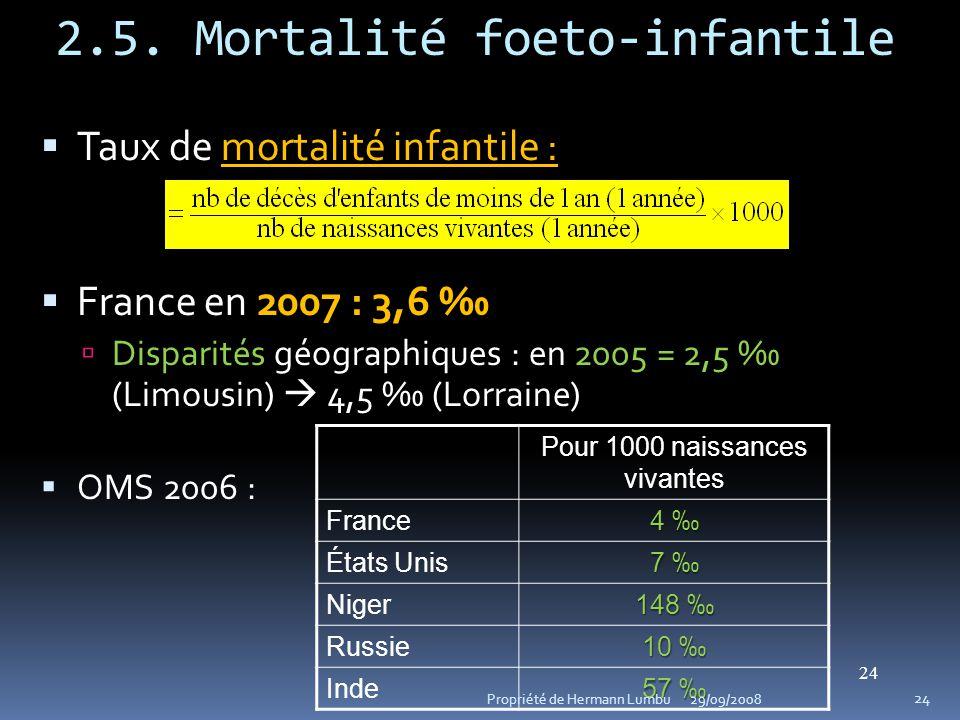 2.5. Mortalité foeto-infantile 24 mortalité infantile : Taux de mortalité infantile : 2007 : 3,6 France en 2007 : 3,6 Disparités2005 = 2,5 Disparités