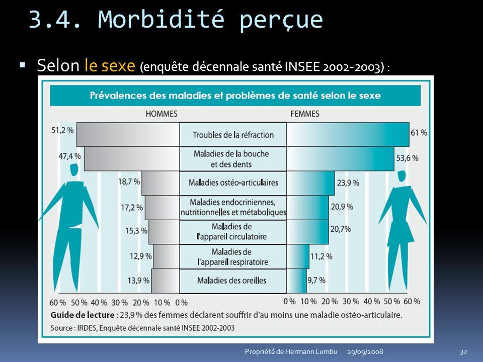 3.4. Morbidité perçue le sexe Selon le sexe (enquête décennale santé INSEE 2002-2003) : 32 Propriété de Hermann Lumbu29/09/2008