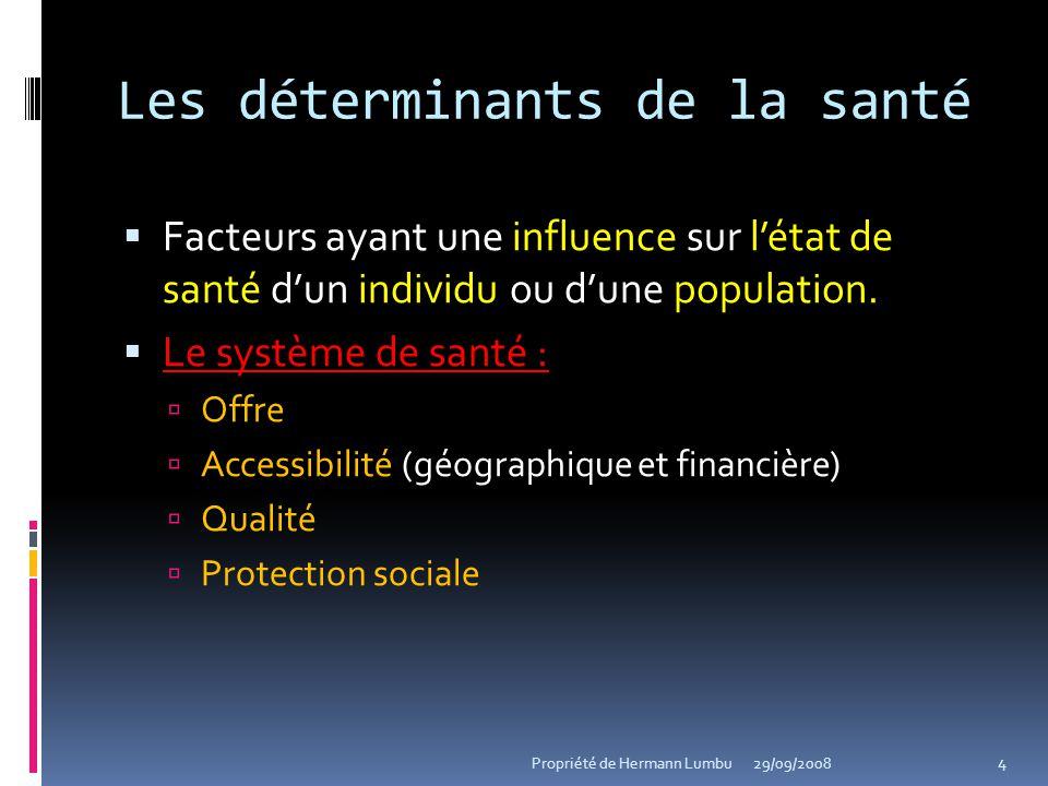 Les déterminants de la santé Facteurs ayant une influence sur létat de santé dun individu ou dune population. Le système de santé : Le système de sant