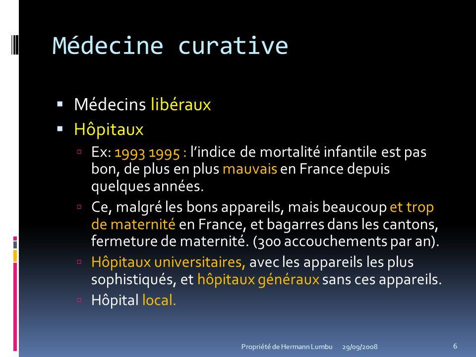 Médecine curative Médecins libéraux Hôpitaux Ex: 1993 1995 : lindice de mortalité infantile est pas bon, de plus en plus mauvais en France depuis quel