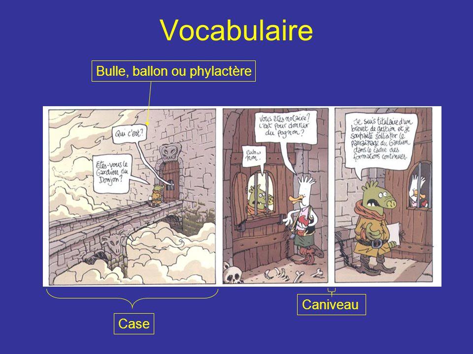 Vocabulaire Case Bulle, ballon ou phylactère Caniveau