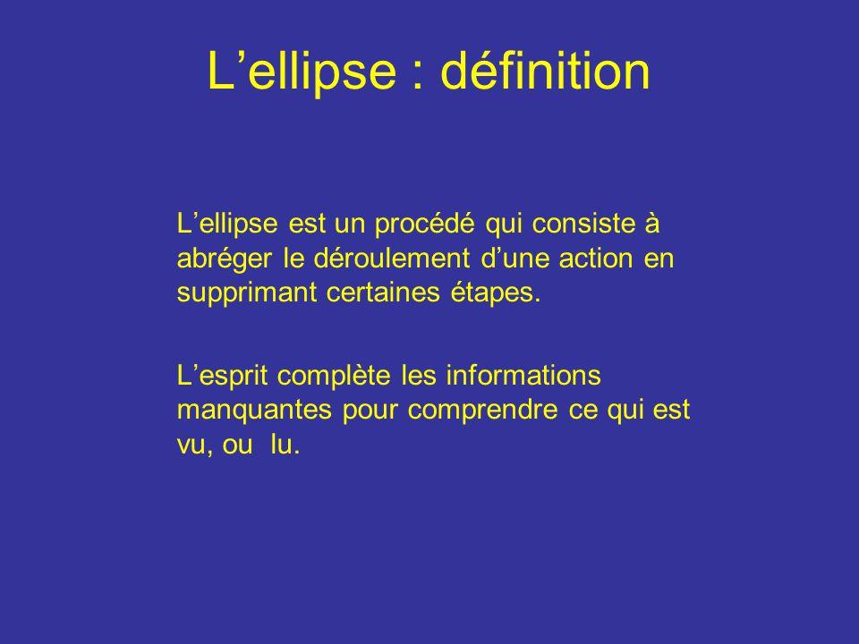 Lellipse : définition Lellipse est un procédé qui consiste à abréger le déroulement dune action en supprimant certaines étapes.