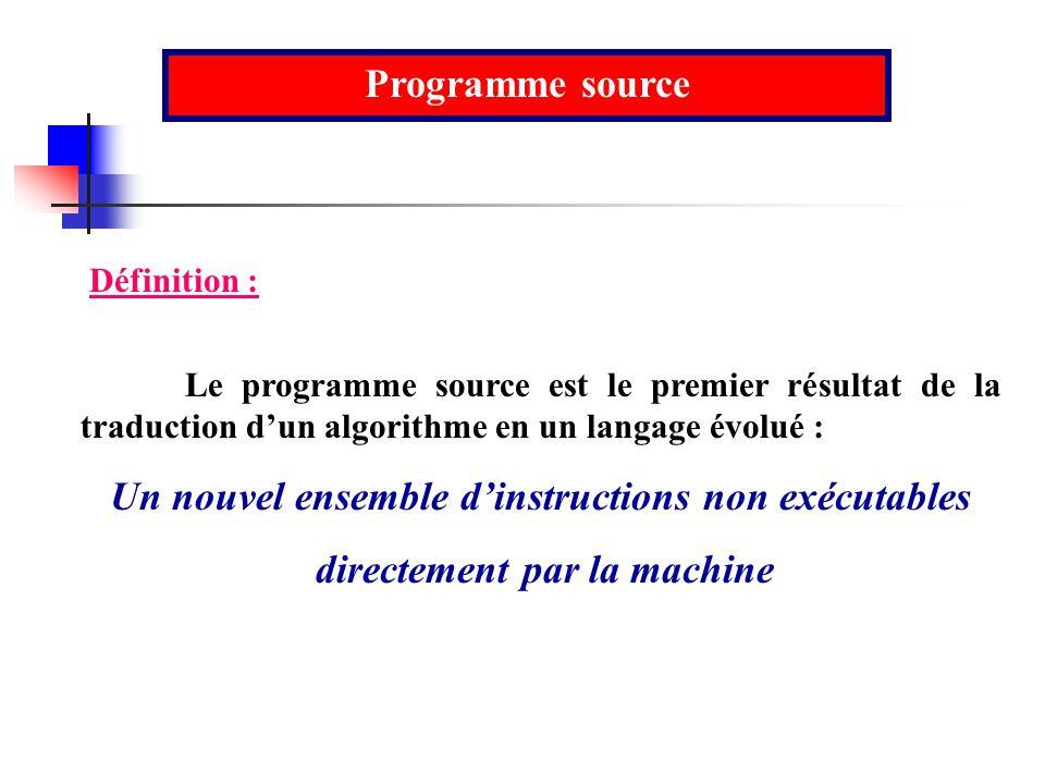 Programme source Le programme source est le premier résultat de la traduction dun algorithme en un langage évolué : Un nouvel ensemble dinstructions n