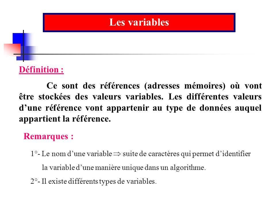 Les variables Ce sont des références (adresses mémoires) où vont être stockées des valeurs variables. Les différentes valeurs dune référence vont appa