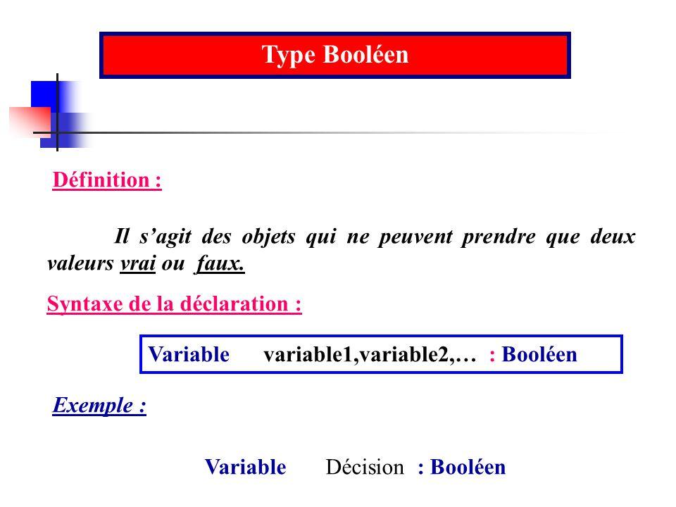 Type Booléen Définition : Il sagit des objets qui ne peuvent prendre que deux valeurs vrai ou faux. Syntaxe de la déclaration : Variable variable1,var