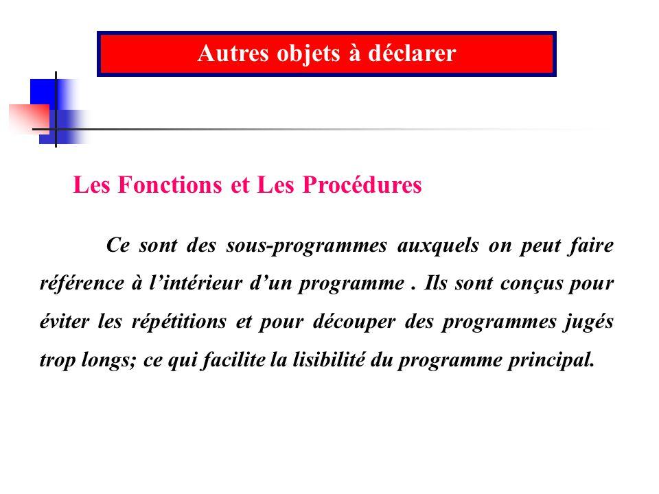 Autres objets à déclarer Les Fonctions et Les Procédures Ce sont des sous-programmes auxquels on peut faire référence à lintérieur dun programme. Ils