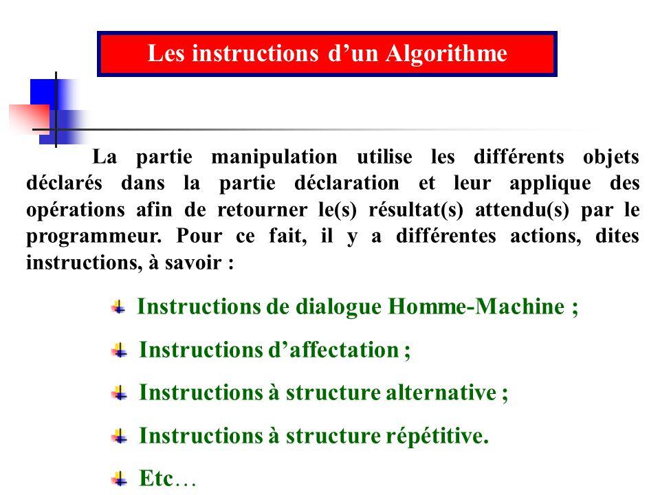 Les instructions dun Algorithme La partie manipulation utilise les différents objets déclarés dans la partie déclaration et leur applique des opératio