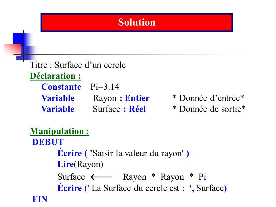 Solution Titre : Surface dun cercle Déclaration : Constante Pi=3.14 Variable Rayon : Entier * Donnée dentrée* Variable Surface : Réel * Donnée de sort