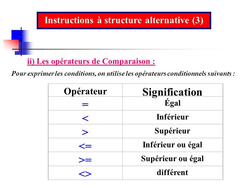 Instructions à structure alternative (3) ii) Les opérateurs de Comparaison : Pour exprimer les conditions, on utilise les opérateurs conditionnels sui
