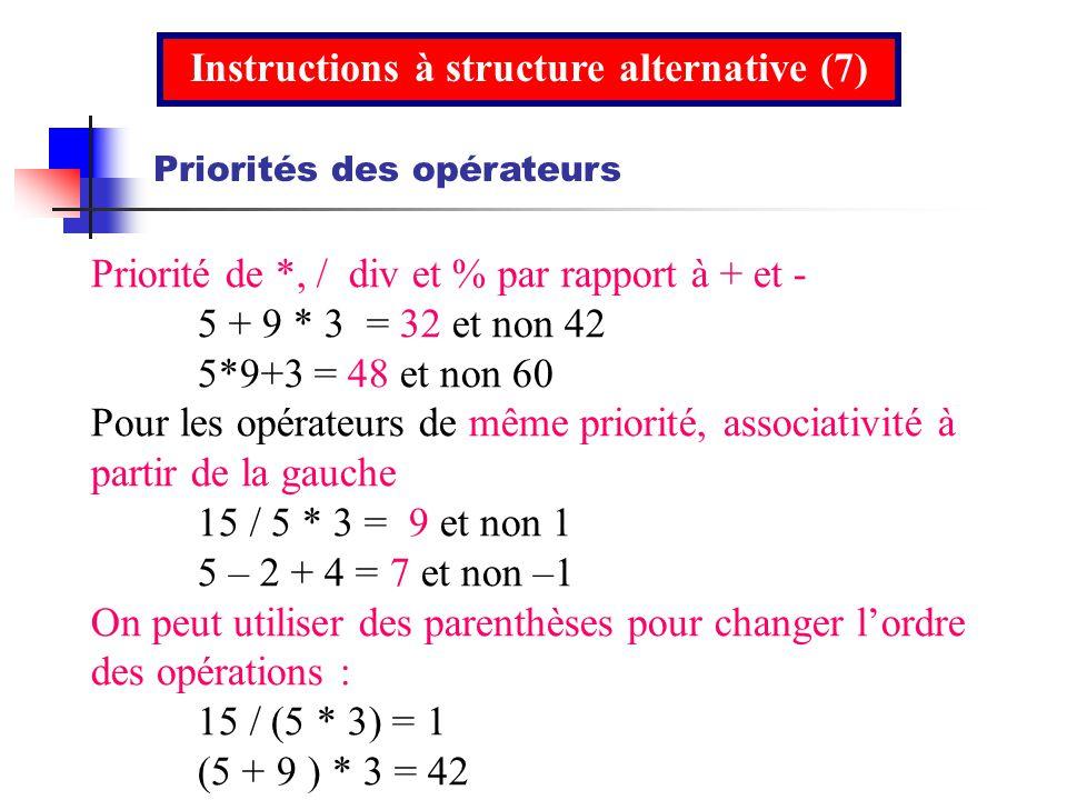 Priorité de *, / div et % par rapport à + et - 5 + 9 * 3 = 32 et non 42 5*9+3 = 48 et non 60 Pour les opérateurs de même priorité, associativité à par