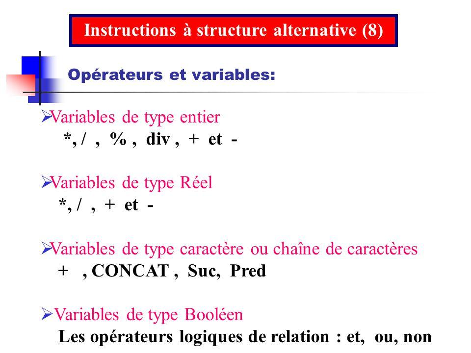 Variables de type entier *, /, %, div, + et - Variables de type Réel *, /, + et - Variables de type caractère ou chaîne de caractères +, CONCAT, Suc,