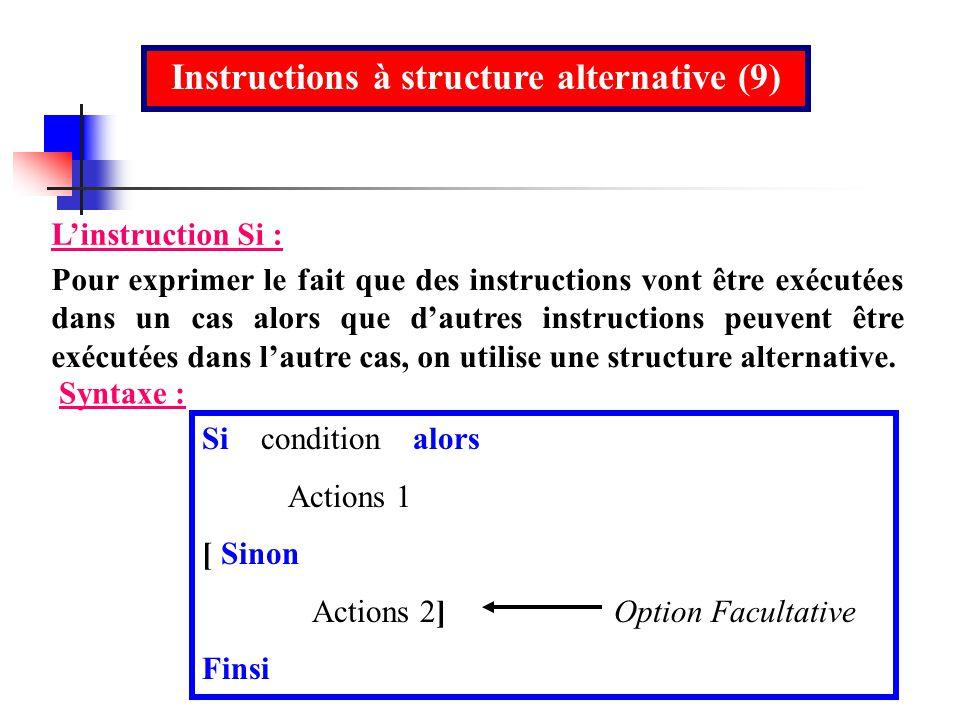 Instructions à structure alternative (9) Linstruction Si : Pour exprimer le fait que des instructions vont être exécutées dans un cas alors que dautre