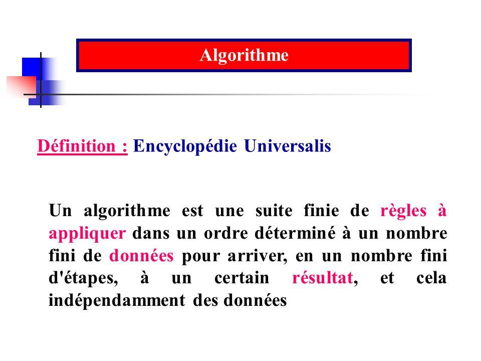 Un algorithme est une suite finie de règles à appliquer dans un ordre déterminé à un nombre fini de données pour arriver, en un nombre fini d'étapes,