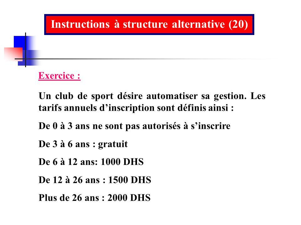 Instructions à structure alternative (20) Un club de sport désire automatiser sa gestion. Les tarifs annuels dinscription sont définis ainsi : De 0 à
