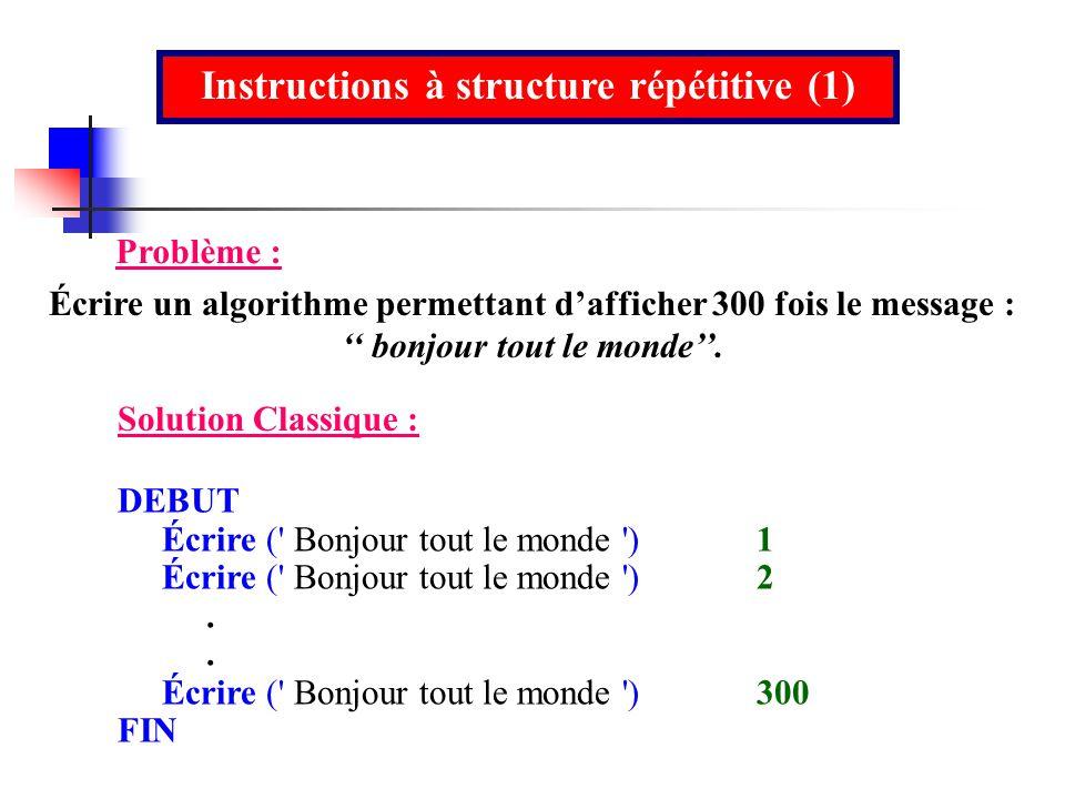 Instructions à structure répétitive (1) Problème : Écrire un algorithme permettant dafficher 300 fois le message : bonjour tout le monde. DEBUT Écrire