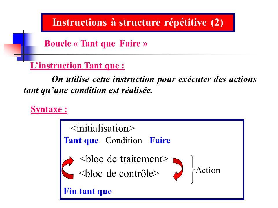 Instructions à structure répétitive (2) Linstruction Tant que : On utilise cette instruction pour exécuter des actions tant quune condition est réalis