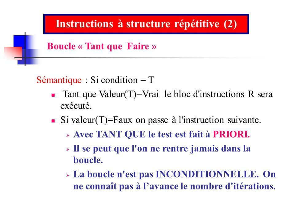 Instructions à structure répétitive (2) Sémantique : Si condition = T Tant que Valeur(T)=Vrai le bloc d'instructions R sera exécuté. Si valeur(T)=Faux