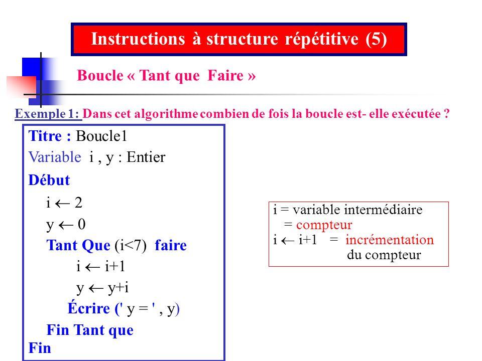 Titre : Boucle1 Variable i, y : Entier Début i y 0 Tant Que (i<7) faire i i+1 y y+i Écrire (' y = ', y) Fin Tant que Fin Instructions à structure répé