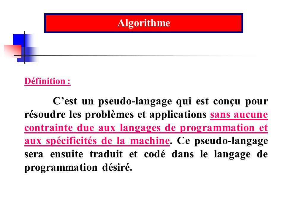 Algorithme Définition : Cest un pseudo-langage qui est conçu pour résoudre les problèmes et applications sans aucune contrainte due aux langages de pr