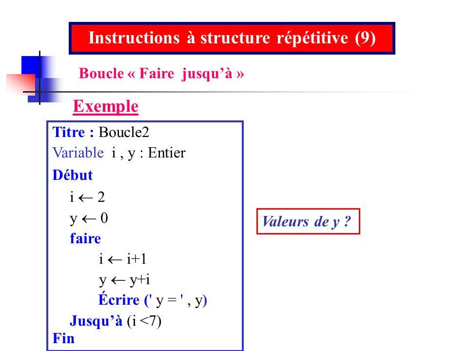 Titre : Boucle2 Variable i, y : Entier Début i y 0 faire i i+1 y y+i Écrire (' y = ', y) Jusquà (i <7) Fin Instructions à structure répétitive (9) Exe