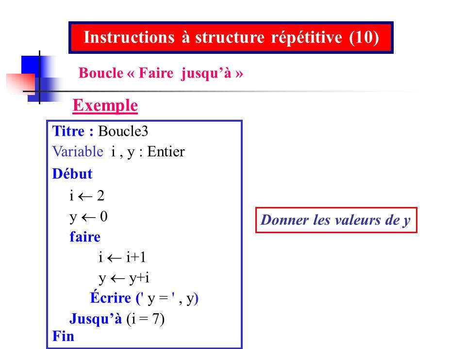 Titre : Boucle3 Variable i, y : Entier Début i y 0 faire i i+1 y y+i Écrire (' y = ', y) Jusquà (i = 7) Fin Instructions à structure répétitive (10) E