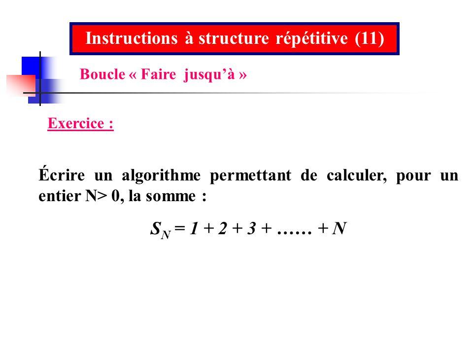 Instructions à structure répétitive (11) Exercice : Écrire un algorithme permettant de calculer, pour un entier N> 0, la somme : S N = 1 + 2 + 3 + ……