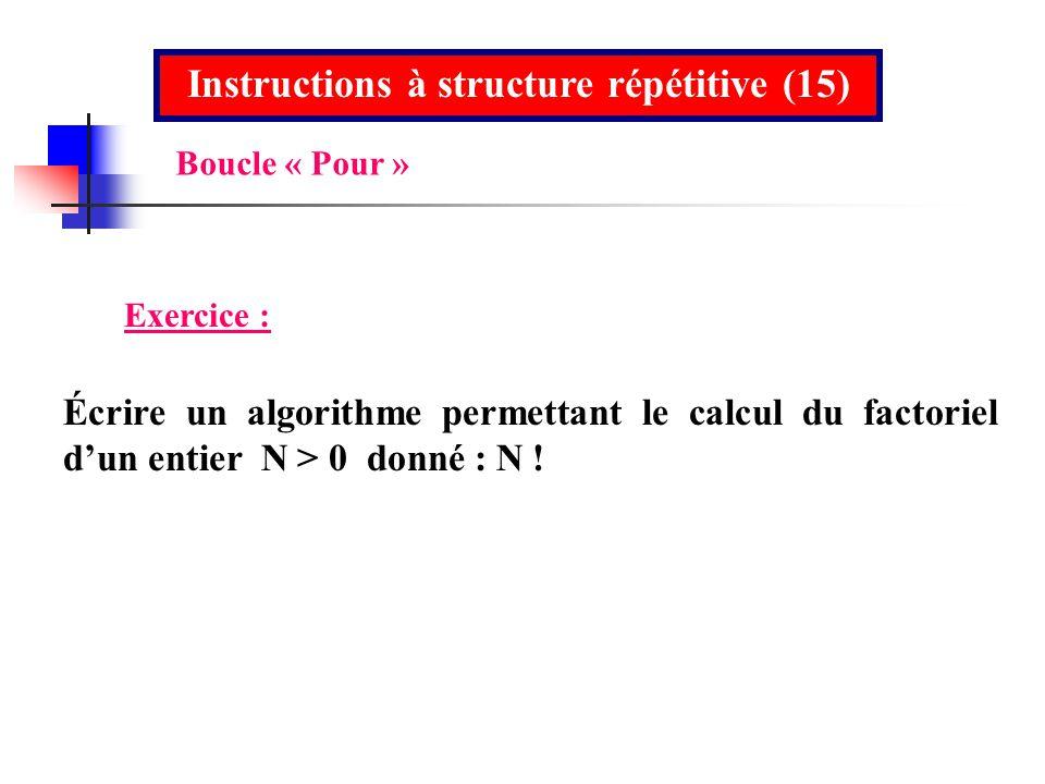 Instructions à structure répétitive (15) Exercice : Écrire un algorithme permettant le calcul du factoriel dun entier N > 0 donné : N ! Boucle « Pour