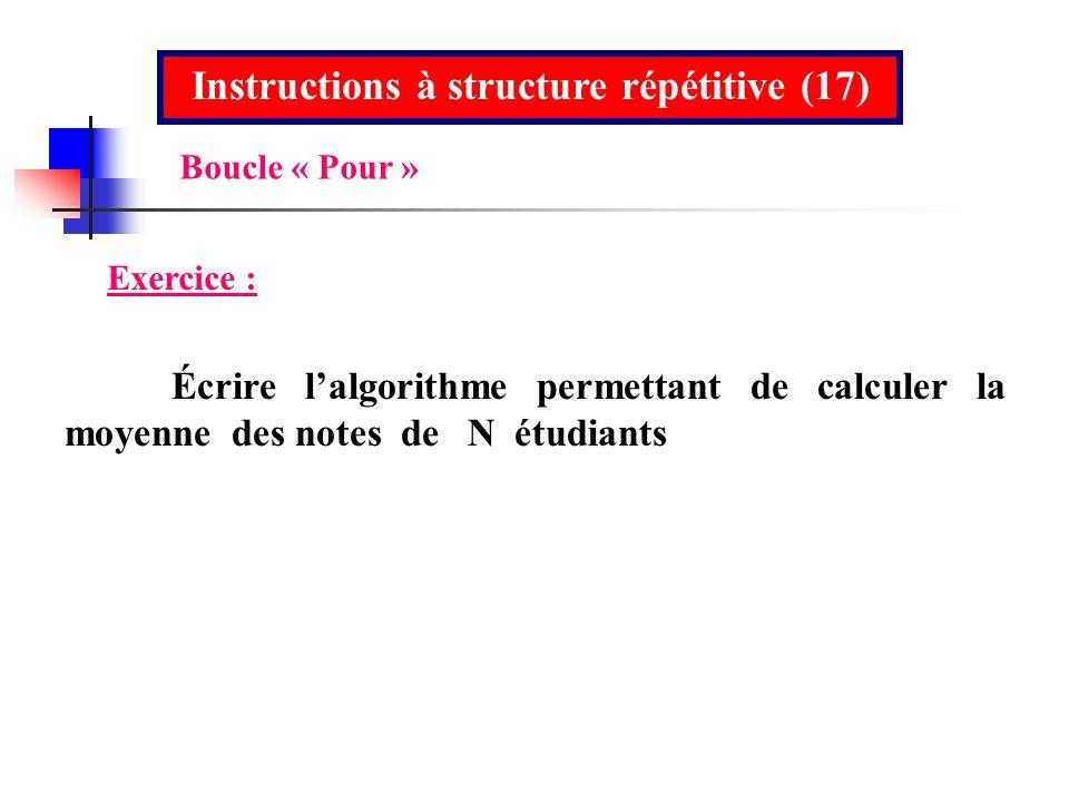 Instructions à structure répétitive (17) Exercice : Écrire lalgorithme permettant de calculer la moyenne des notes de N étudiants Boucle « Pour »
