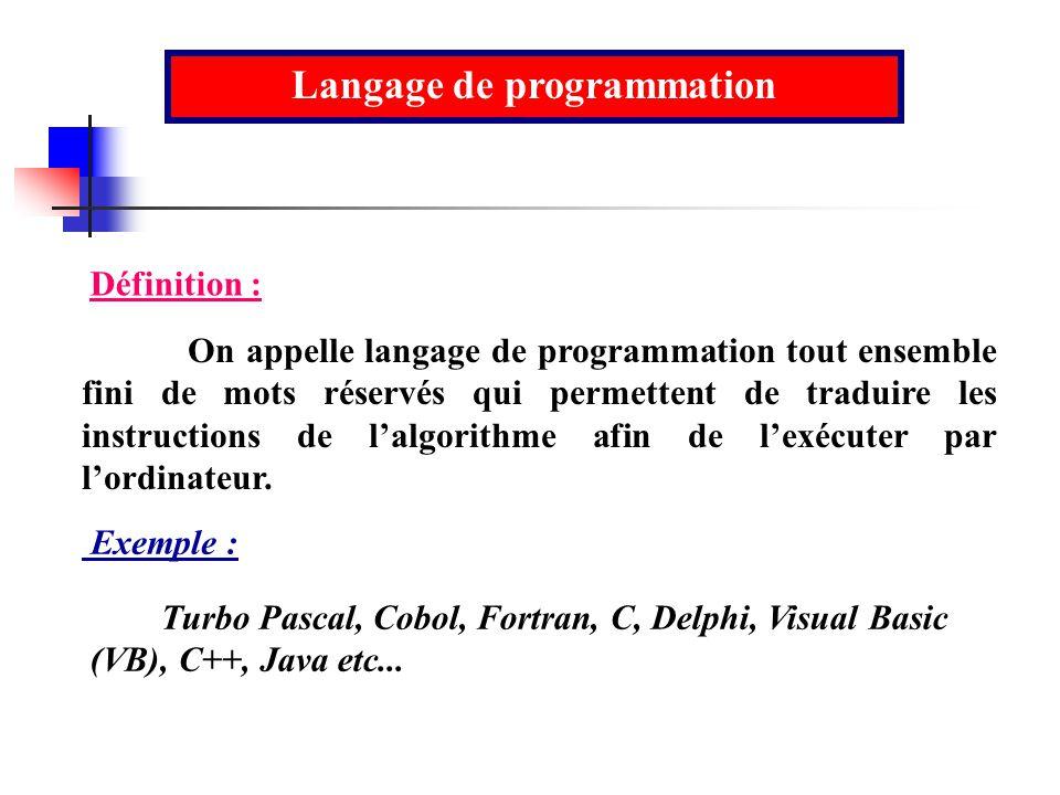 Langage de programmation On appelle langage de programmation tout ensemble fini de mots réservés qui permettent de traduire les instructions de lalgor