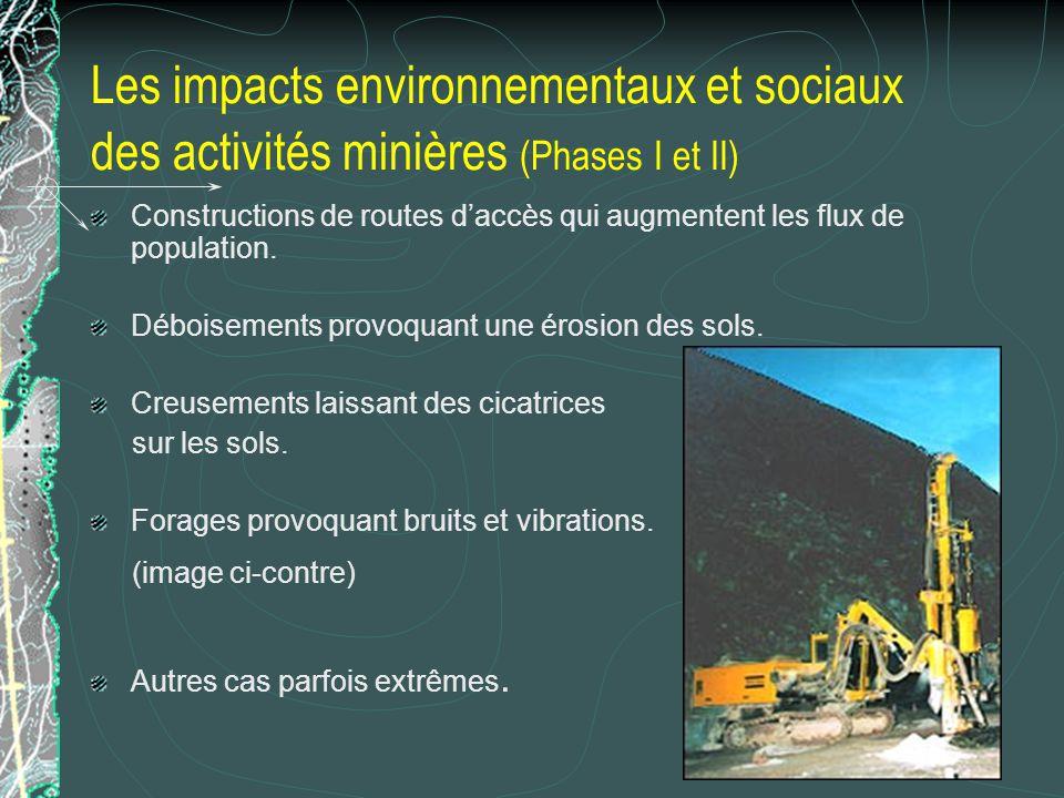Les impacts environnementaux et sociaux des activités minières (Phases I et II) Constructions de routes daccès qui augmentent les flux de population.