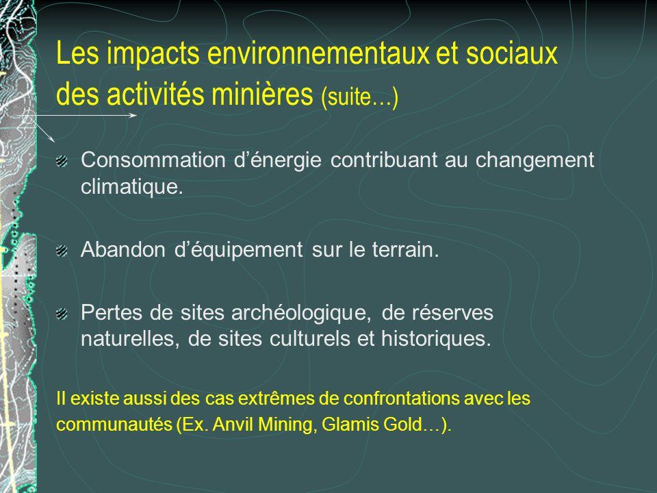 Les impacts environnementaux et sociaux des activités minières (suite…) Consommation dénergie contribuant au changement climatique. Abandon déquipemen