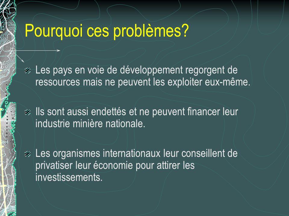 Pourquoi ces problèmes? Les pays en voie de développement regorgent de ressources mais ne peuvent les exploiter eux-même. Ils sont aussi endettés et n