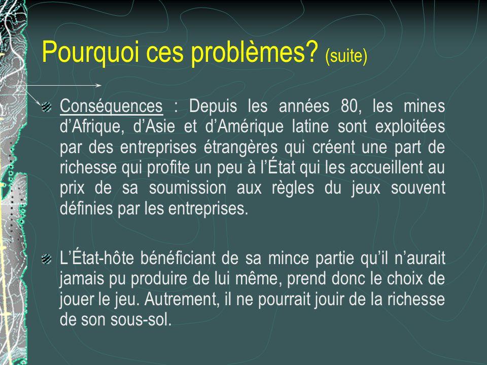 Pourquoi ces problèmes? (suite) Conséquences : Depuis les années 80, les mines dAfrique, dAsie et dAmérique latine sont exploitées par des entreprises
