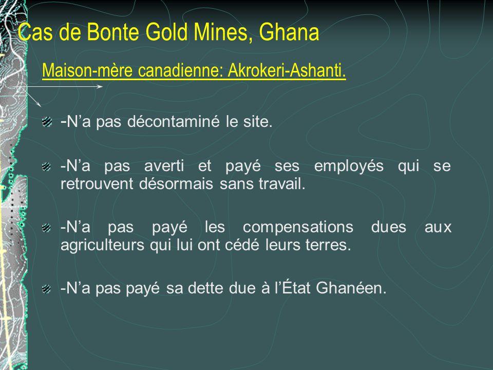 Cas de Bonte Gold Mines, Ghana Maison-mère canadienne: Akrokeri-Ashanti. - Na pas décontaminé le site. -Na pas averti et payé ses employés qui se retr