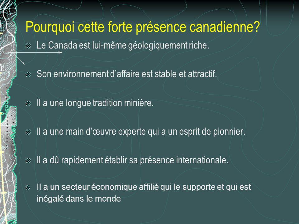 Pourquoi cette forte présence canadienne? Le Canada est lui-même géologiquement riche. Son environnement daffaire est stable et attractif. Il a une lo