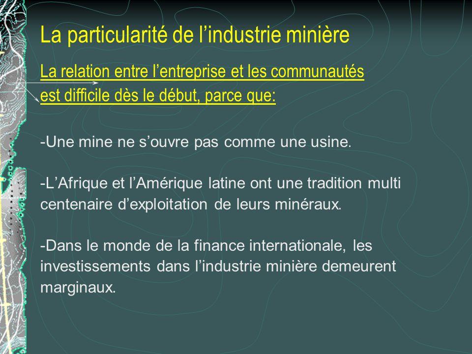 La particularité de lindustrie minière La relation entre lentreprise et les communautés est difficile dès le début, parce que (suite): -Les mines des pays du Nord sépuisent peu à peu.