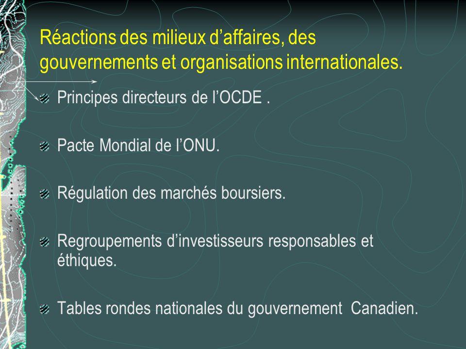 Réactions des milieux daffaires, des gouvernements et organisations internationales. Principes directeurs de lOCDE. Pacte Mondial de lONU. Régulation