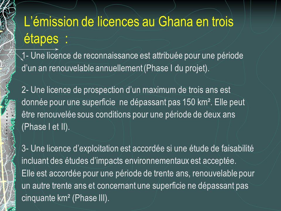 Lémission de licences au Ghana en trois étapes : 1- Une licence de reconnaissance est attribuée pour une période dun an renouvelable annuellement (Pha
