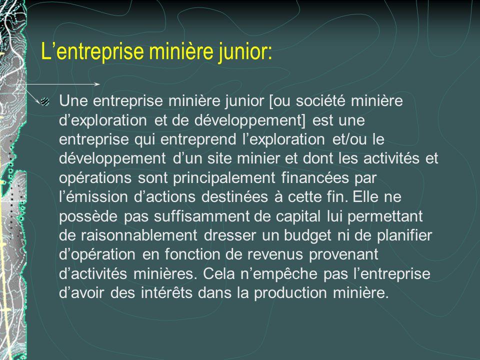 Lentreprise minière junior: Une entreprise minière junior [ou société minière dexploration et de développement] est une entreprise qui entreprend lexp