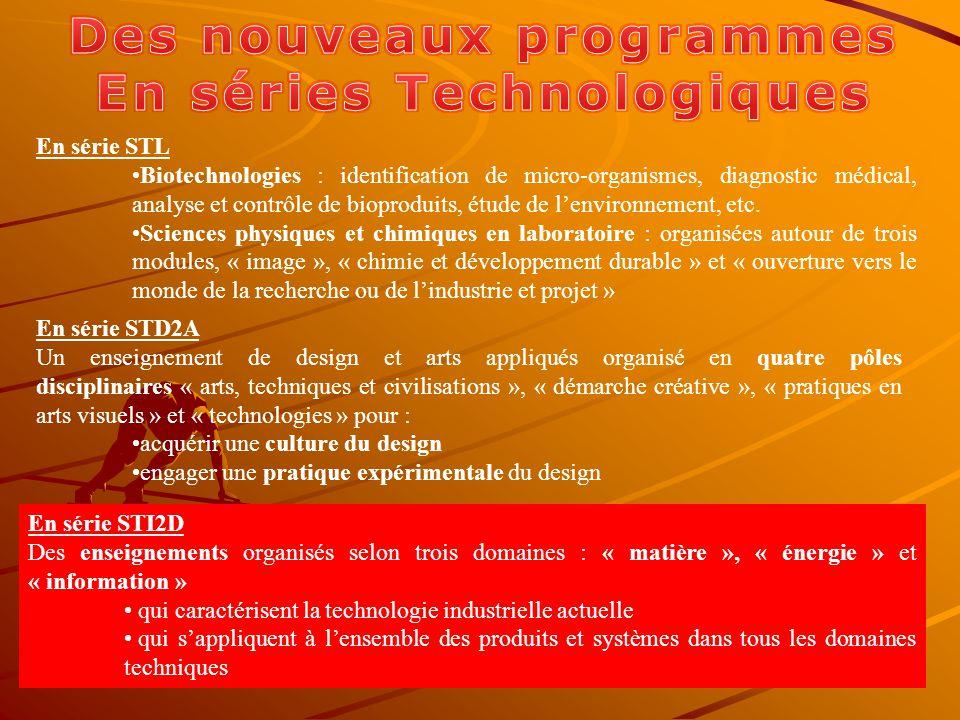 En série STL Biotechnologies : identification de micro-organismes, diagnostic médical, analyse et contrôle de bioproduits, étude de lenvironnement, etc.