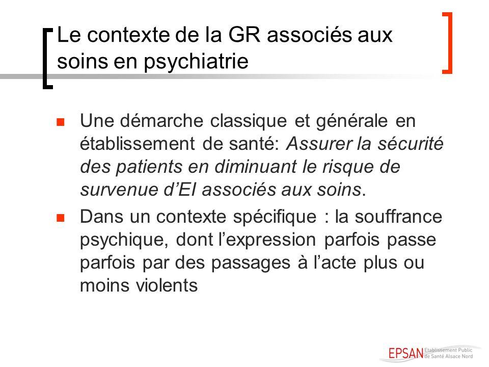 Le contexte de la GR associés aux soins en psychiatrie Une démarche classique et générale en établissement de santé: Assurer la sécurité des patients