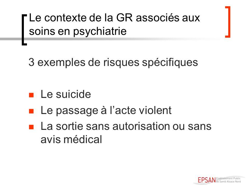 Le contexte de la GR associés aux soins en psychiatrie 3 exemples de risques spécifiques Le suicide Le passage à lacte violent La sortie sans autorisa