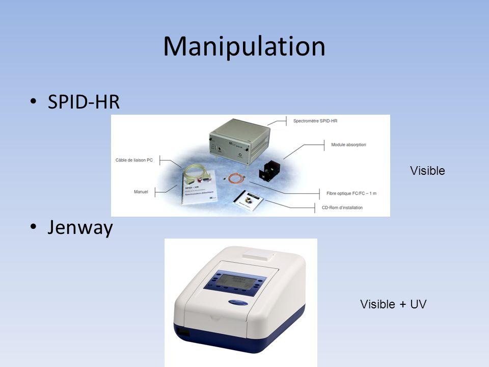 Manipulation SPID-HR Jenway Visible Visible + UV