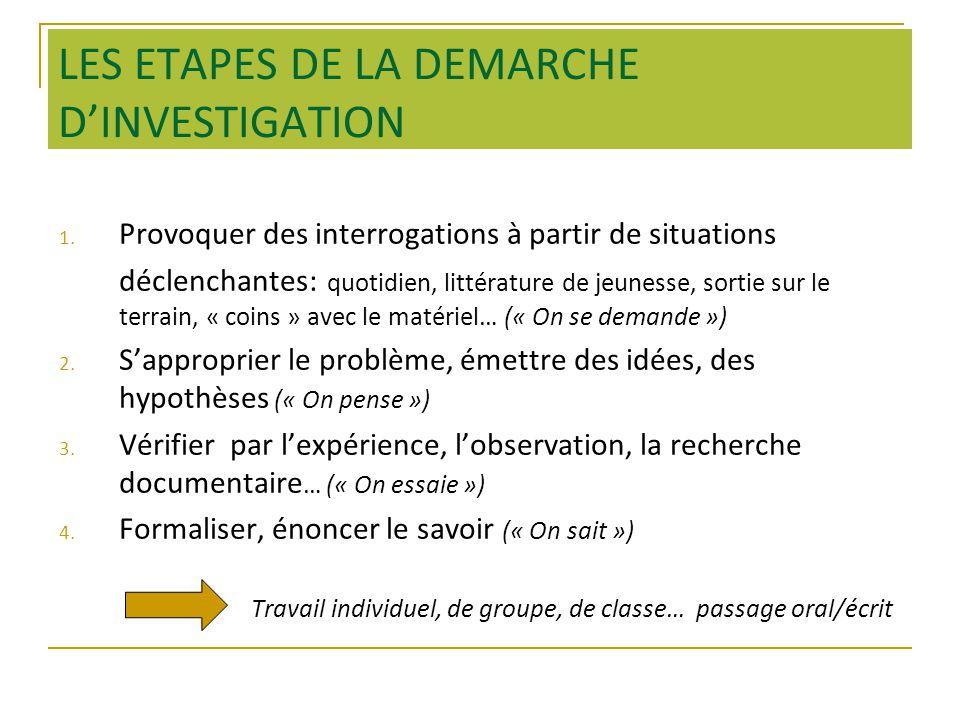 LES ETAPES DE LA DEMARCHE DINVESTIGATION 1.