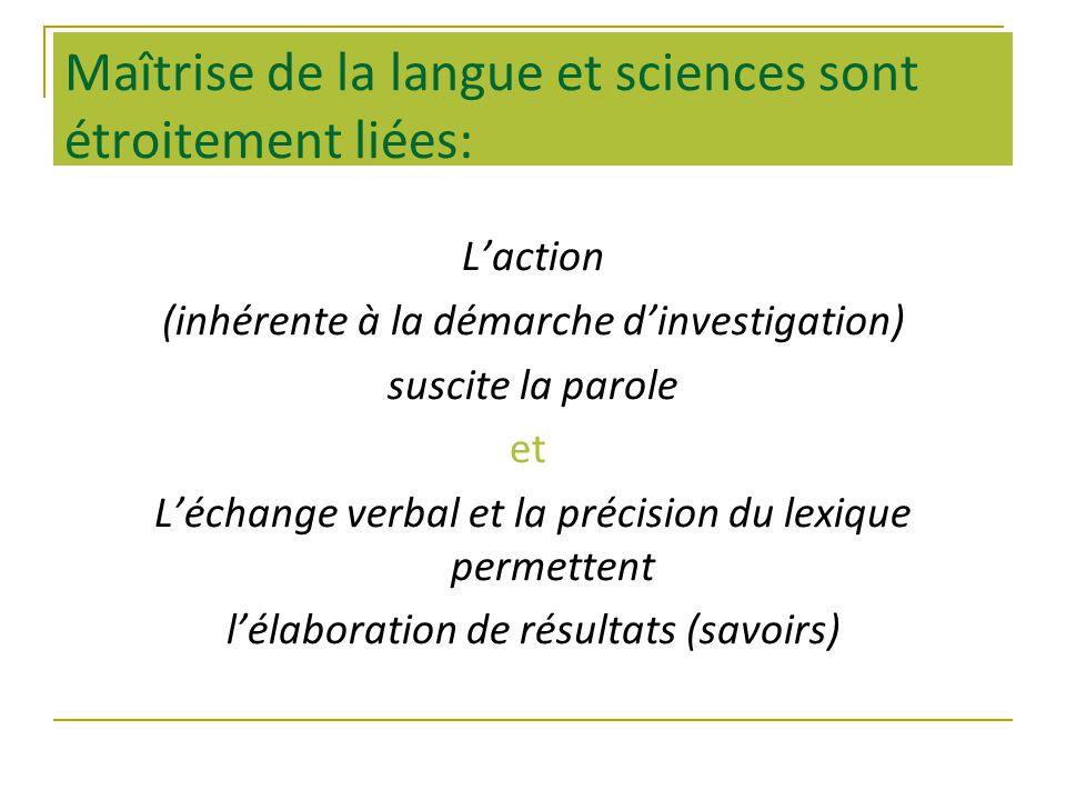 Maîtrise de la langue et sciences sont étroitement liées: Laction (inhérente à la démarche dinvestigation) suscite la parole et Léchange verbal et la précision du lexique permettent lélaboration de résultats (savoirs)