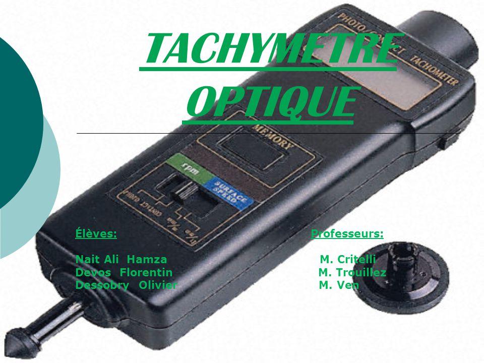 SOMMAIRE Problématique: Problématique: comment un tachymètre optique mesure-t- il une vitesse .
