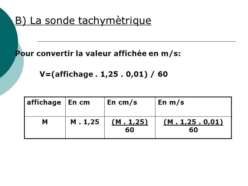 B) La sonde tachymètrique Pour convertir la valeur affichée en m/s: V=(affichage. 1,25. 0,01) / 60 affichageEn cmEn cm/sEn m/s MM. 1,25(M. 1,25) 60 (M
