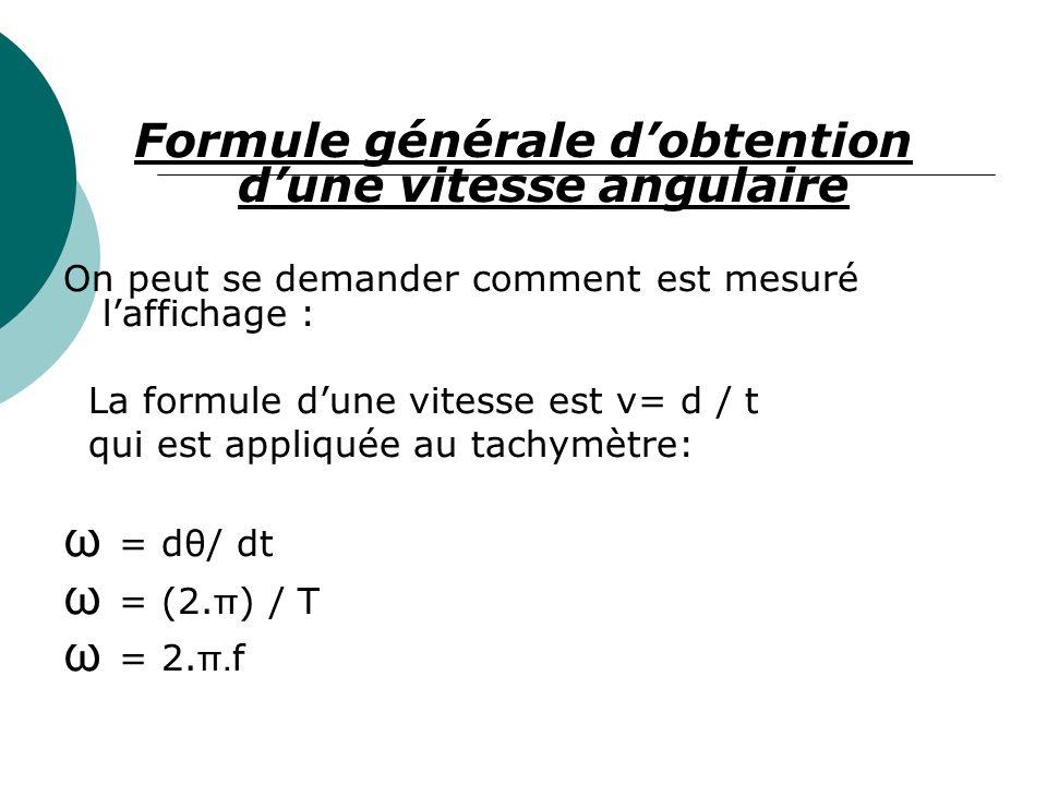 Formule générale dobtention dune vitesse angulaire On peut se demander comment est mesuré laffichage : La formule dune vitesse est v= d / t qui est ap